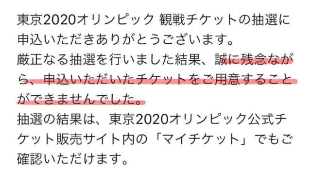 東京オリンピック観戦チケット落選メール