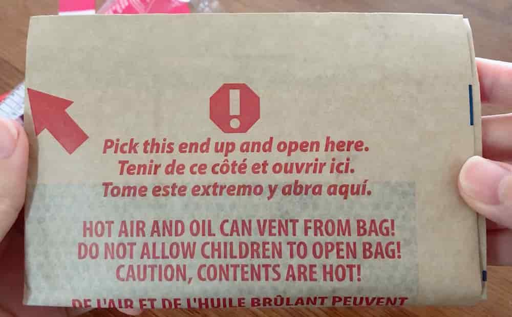 コストコのポップコーンを開けると茶色い袋が入ってる
